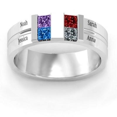 S925 Sterling Silver Custom Leonidas Grooved Birthstone Ring