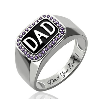 S925 Sterling Silver Men's Birthstone Dad Ring Platinum Plated For Him