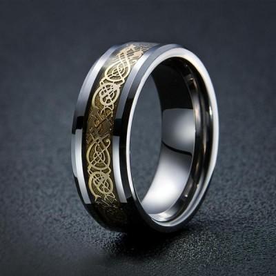 S925 Sterling Silver Dragon's Breath   Steel Viking Ring