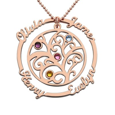 Family Tree Necklace with 1-4 Birthstones