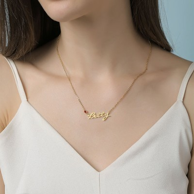18K Gold Plating Personalized Name Necklace With Birthstone for Her