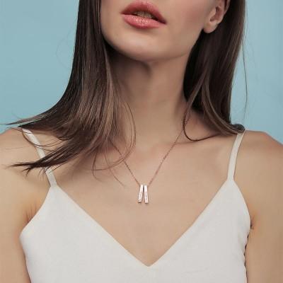 18K Rose Gold Plating Personalized 1-3 Engraved Bars Engravable Vertical 3d Bar Necklace