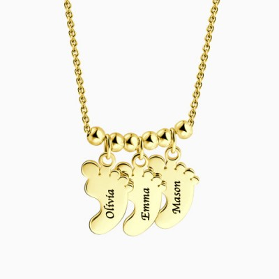 Engravable Baby Feet Necklace with 1-6 Pendants