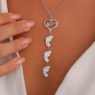 Personalized Mom Necklace With Baby Feet 1-10 Pendants