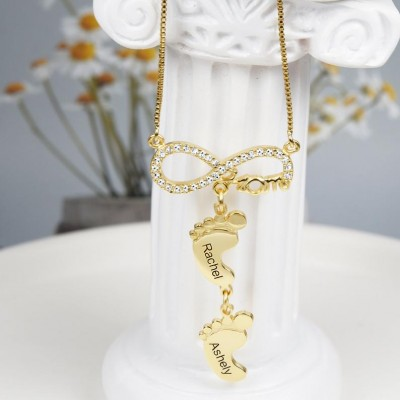 Personalized Infinity Mom Necklace With Baby Feet 1-10 Pendants