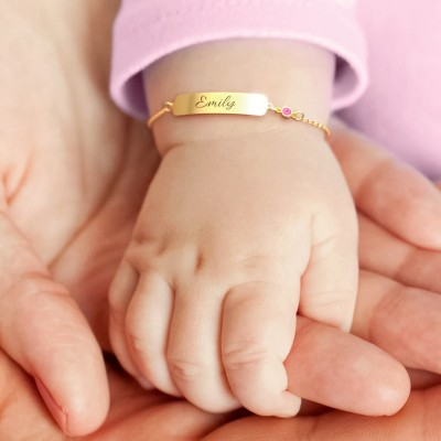 Personalized Bracelet Classic Engravable Baby Bracelet with Birthstone