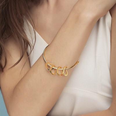 18K Gold Plating Personalized Bangle Bracelet with 1-10 Charms Custom Bracelet for Her - Customized Charm Bracelet