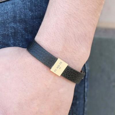 Personalized Leather Bracelet Men Bracelet