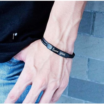 Custom Personalized Engraved Leather Bracelet Braided Leather Bracelet
