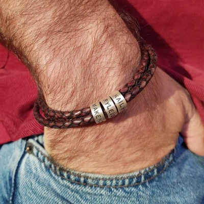 Brown Leather Beads Bracelet Small Custom Bead in Silver