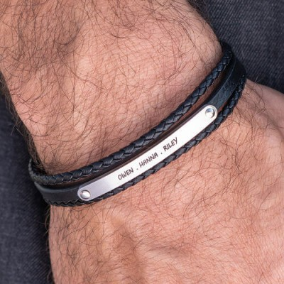 Stacked Black Leather Bracelets With Engraved Bar