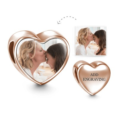 Engravable Heart Personalized Photo Charm Rose Gold