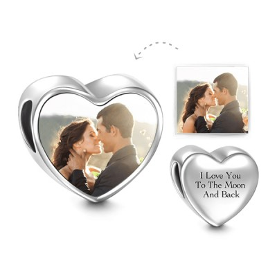 Love Forever Heart Personalized Photo Charm