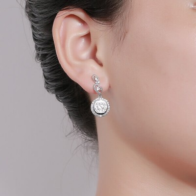 Engraved Lace Circle Monogram Silver Earrings