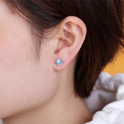 Personalized Birthstone Stud Earrings Sterling Silver