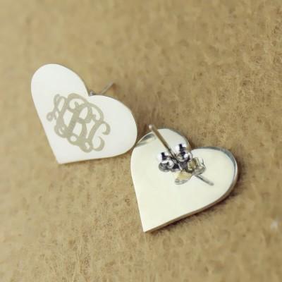 Heart Monogram Stud Earrings Sterling Silver
