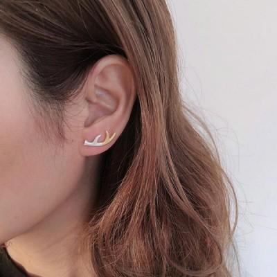Deer Antler Stud 2 Tones Earrings