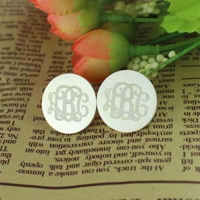 Engraved Disc Monogram Stud Earrings Sterling Silver
