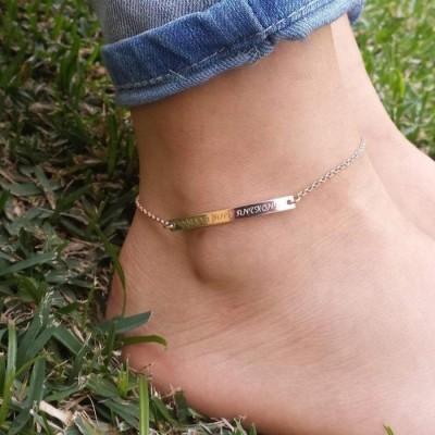 Personalized Bar Engraved Anklet Adjustable