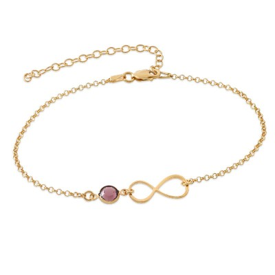 Personalized Anklet With Infinity Charm And Birthstone
