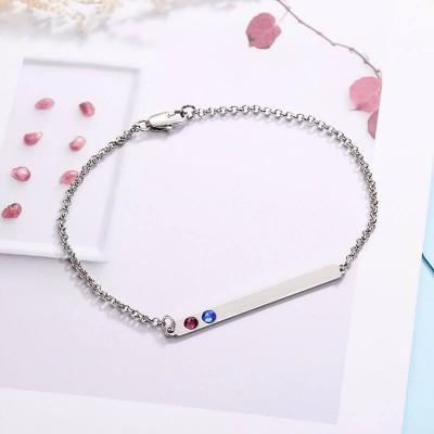 Personalized Birthstone Bar Bracelet with 2 Birthstone