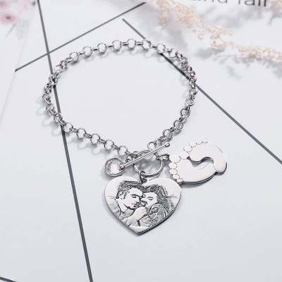 Personalized Photo Engraved Tag Bracelet With Engraving  for Couple