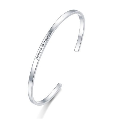 Personalized Open Engravable Thin Bracelet with Your Words