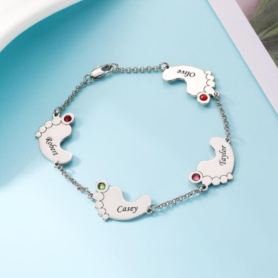 Personalized Birthstone Baby Feet Bracelet with 1-4 Charms
