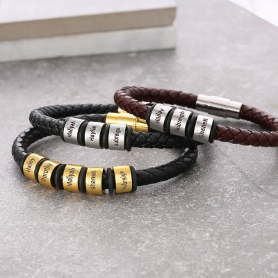 Personalized Brown Leather Bracelet With 1-10 Beads