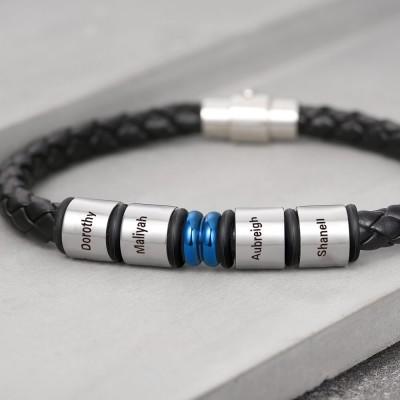 Custom Bead Braid Black Leather Bracelet With 1-10 Beads