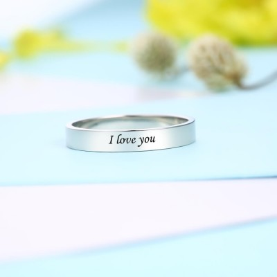 S925 Sterling Silver Memorial Handwriting Ring Eternity Unisex Ring Personalized Handwriting Gift