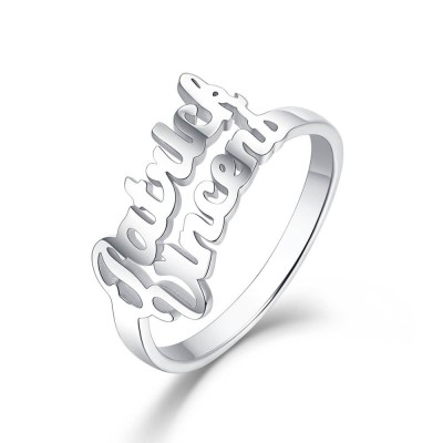 S925 Sterling Silver Personalized 2 Names Ring