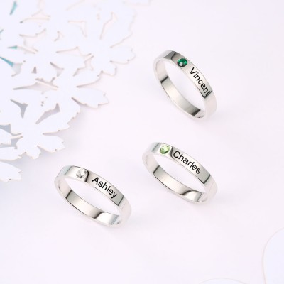 S925 Sterling Silver Personalized Name Ring With Birthstone