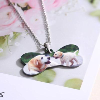Customized Photo Jewelry Dog Bone Shaped Color Photo Necklace