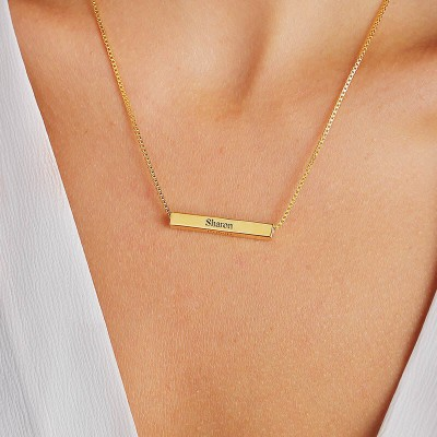 3D Gold Plated Personalised Horizontal Name Bar Necklace - Engraved Bar