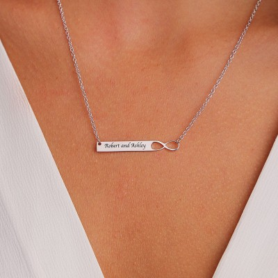 Personalized Infinity Bar Necklace With Engraving