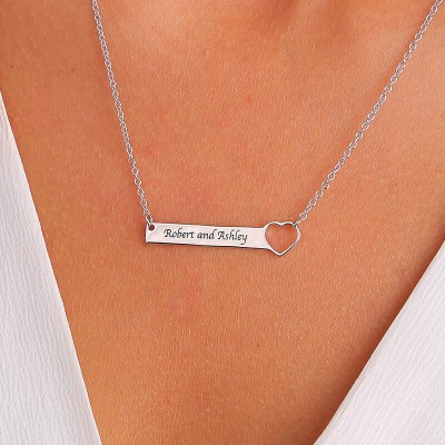 Personalized Bar Necklace with Heart Gift for Her