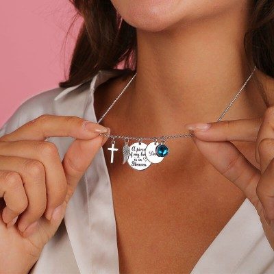 Personalized A Piece Of My Heart Is In Heaven Memorial Necklace