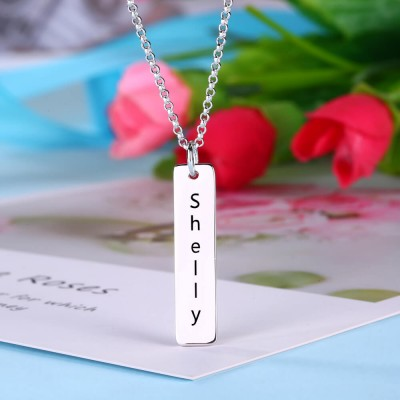Personalize Vertical Bar Necklace With Engraving Silver