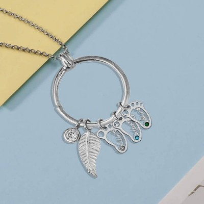 Personalized Circle 1-8 Hollow Baby Feet Shape Pendants with Birthstones Perfect Mother's Day Gift