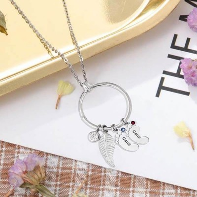 Personalized Leaf Charm Circle with 1-8 Baby Feet Shape Pendants Perfect Mother's Day Gift