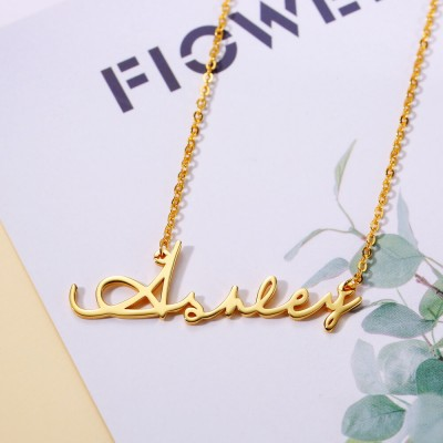 Personalized 18K Gold Classic Name Necklace for Her
