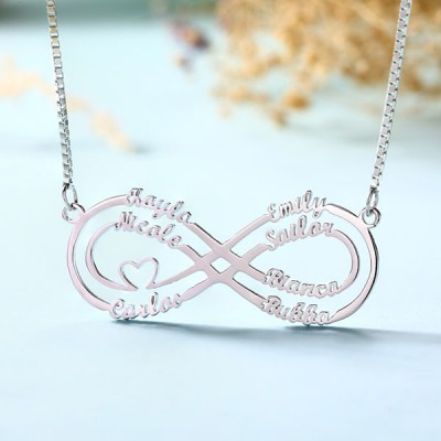 Personalized Infinity Name Necklace with 1-8 Names