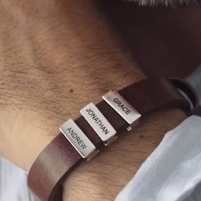 Personalized Leather Beads Bracelet With 1-10 Family Names Engraving Father's Day Gifts