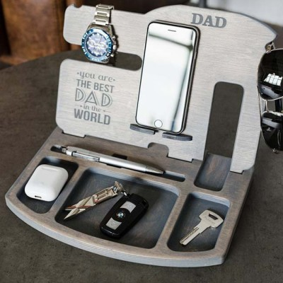 Father's Day Gift Personalized Wooden Docking Station Gift Ideas For Dad
